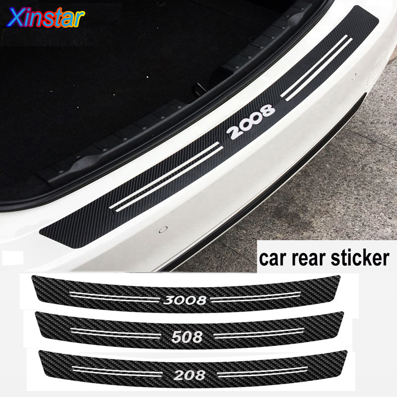 New Carbon Fiber Car Bumper Sticker For Peugeot 206 208 308 308 508 2008 3008 Car Accessories
