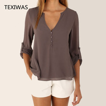 Women Loose Shirt Three Quarter Sleeve deep V Neck Chiffon Blouse (5 colors)