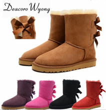 Free shipping female fashion Cow Leather  Bowtie Warm Mid-Calf Snow Boots, women's Big Size candy color Bowtie Snow Boots 35-42