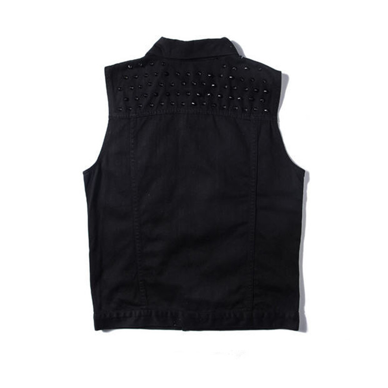 Men S Denim Vest Jackets Sleeveless Fashion Punk Jeans Waistcoat