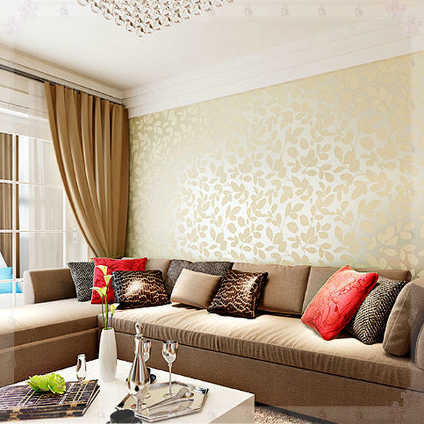 Wallpaper Design For Living Room Moncler Factory Outlets Com Buy Warm  Leaves 3d Wallpaper Design Living