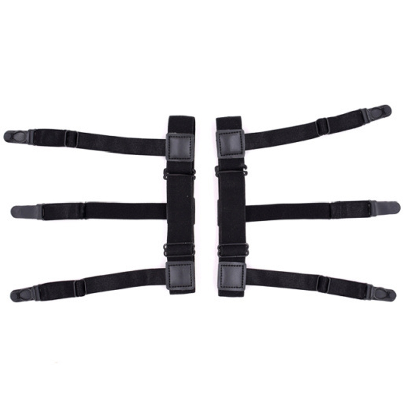 2Pcs Nylon Mens Shirt Stays Elastic Leg Suspenders Plastic Non-slip Locking Clamps Black New