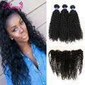 8A Ear To Ear Lace Frontal Closure With 4Bundles Peruvian curly Virgin Hair With Closure Cheap Human Hair With Frontal Closure