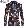 Vintage Mens Slim Fit Casual Blazer M-6XL 2017 Fashion Printed Velvet Blazer Jacket For Men DT447