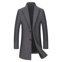 2018 New Autumn Winter Wool Coats Men Warm Woolen Overcoat Long Trench Coats Slim Fit Jacket