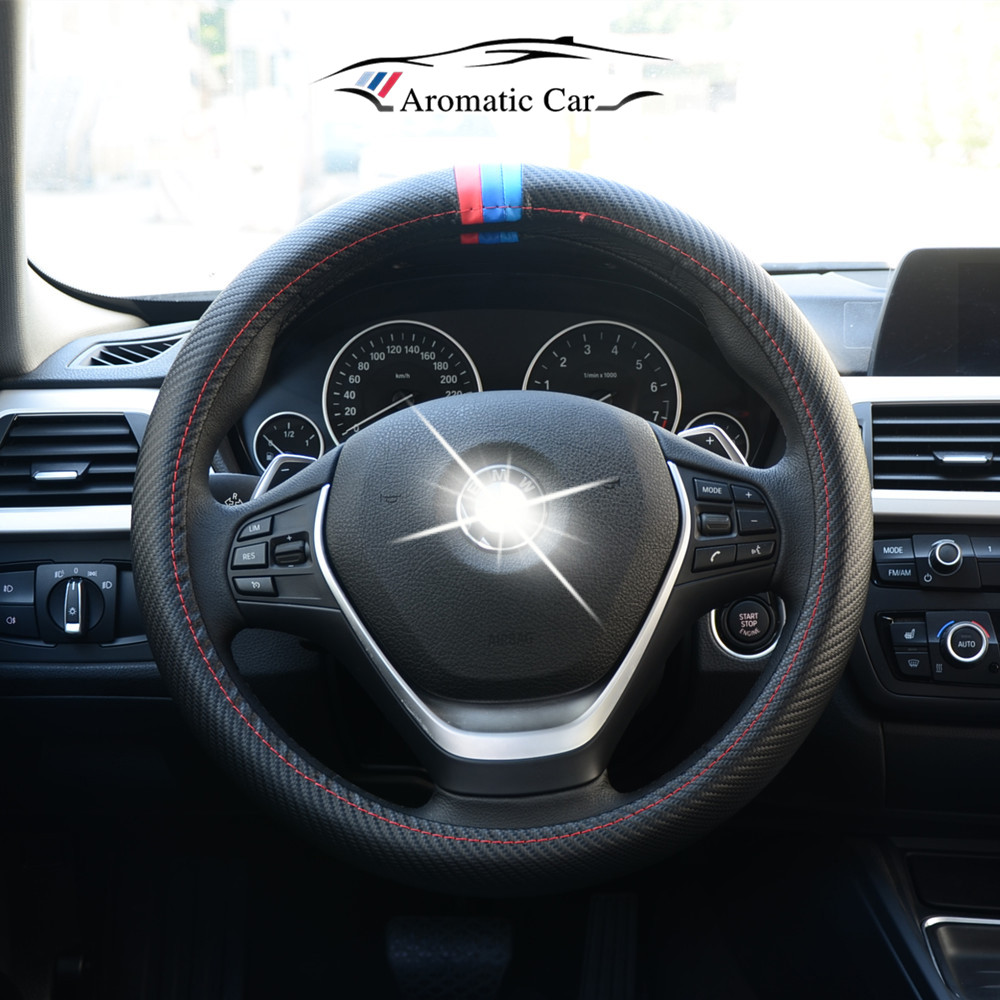 38CM Car Styling Steering Wheel Cover Interior Decor Carbon Fiber Sport Cover For BMW X1 X3 X5 X6 E36 E39 E46 E30 E60 E90 E92