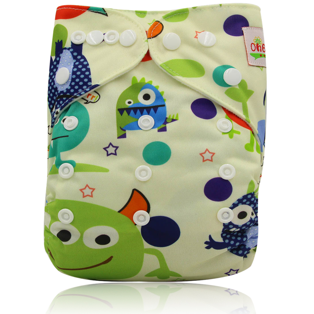 Ohbabyka One Size Pocket Cloth Diaper Washable Reusable Infant Nappy Cover Waterproof PUL Baby Cloth Diapers with Lovely Printed