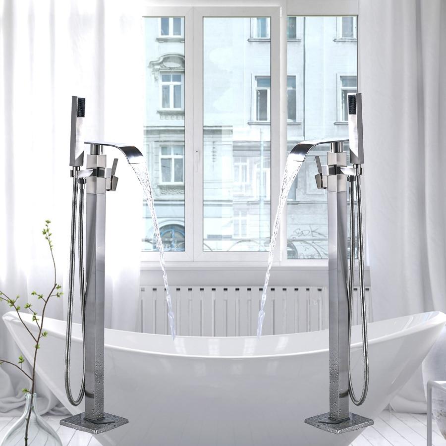 Free Standing Brushed Nickle Single Handle Bathtub Faucet Set Bath ...