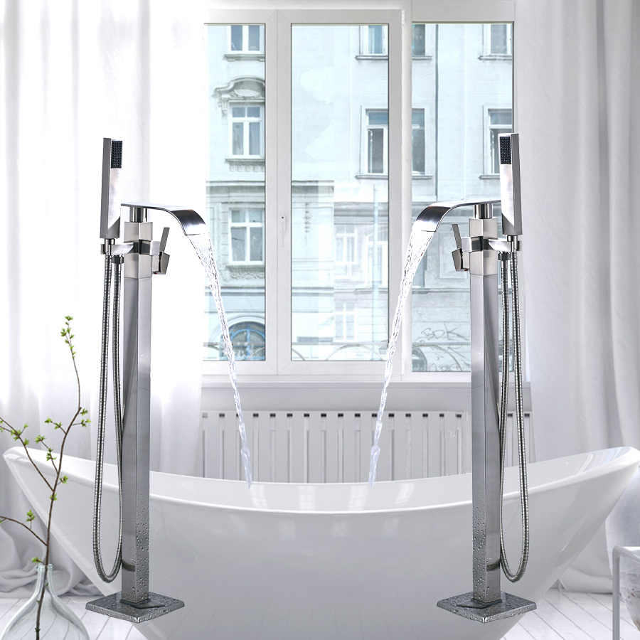 Free Standing Brushed Nickle Single Handle Bathtub Faucet Set Bath Tub Filler Faucet Floor mounted with ABS Handshower