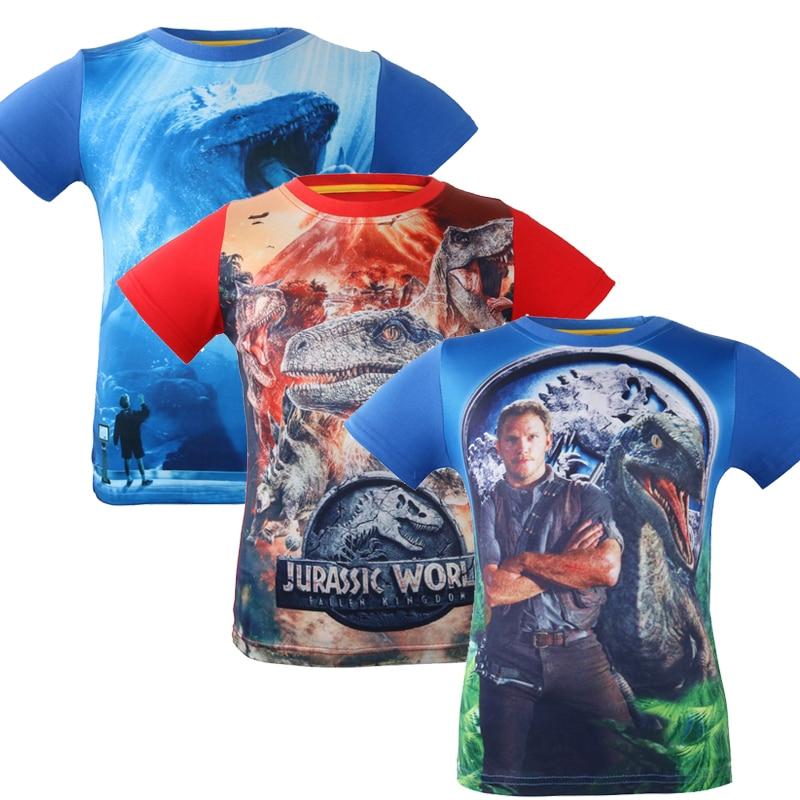 2018 New Summer Children's clothing Baby boys girls T-shirt batman Jurassic World cartoon tops dinosaur Pattern T shirt 3-10Y