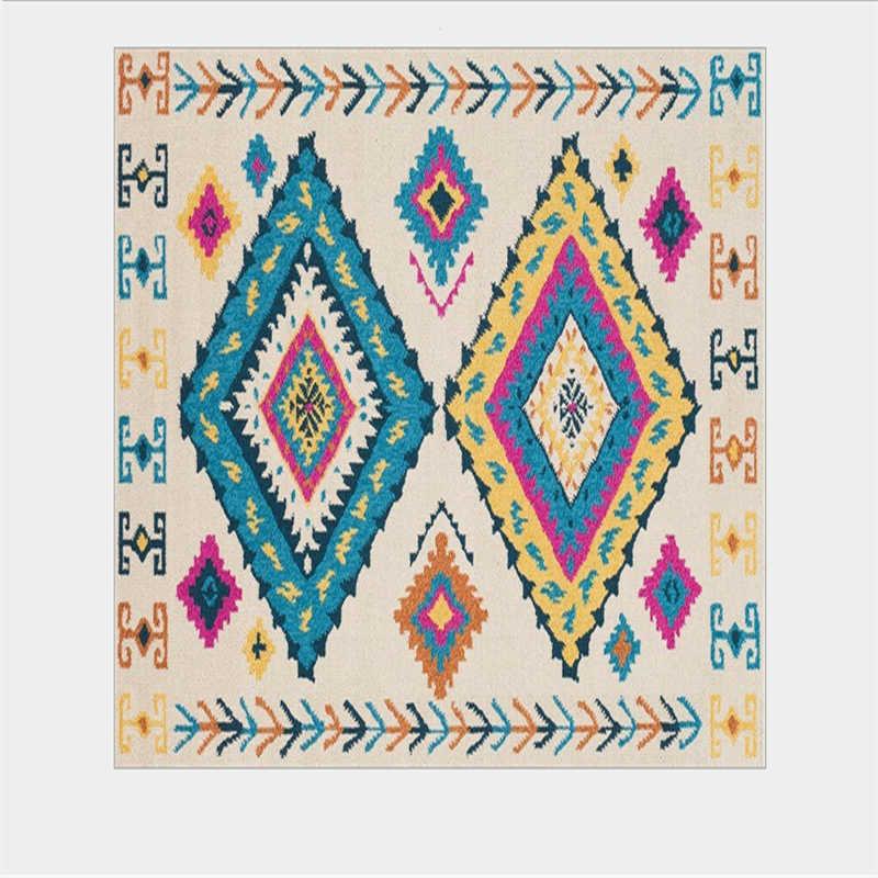 Alfombras de estilo étnico geométrico multicolor bohemio para sala de estar alfombras de dormitorio alfombra para niños habitación antideslizante alfombras de piso