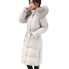 Women Thick Duck Down Jacket 2017 Winter Real Raccoon Fur Collar Hooded Slim Long Sleeved Medium-long Down Coat Parkas Mujer