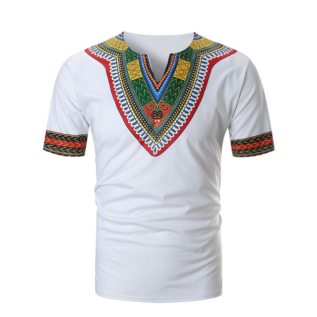 10 couleurs V cou T-shirt Pour Hommes Hommes T Summer Casual African Print o Neck Pullover Short Sleeve T-shirt Top Blouse #smt