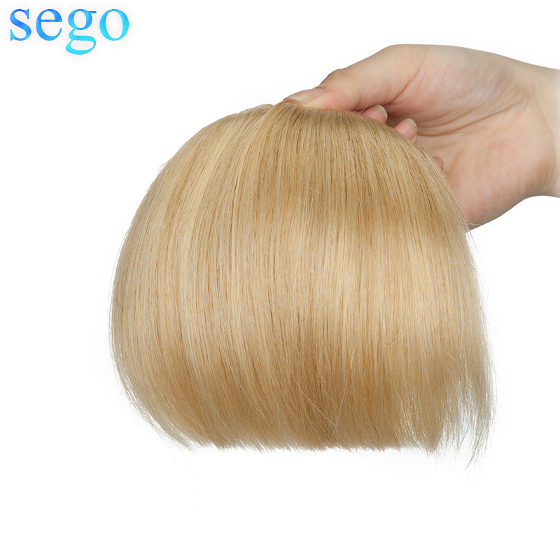 SEGO 23G  Straight 2 Clips In 3D Bangs Human Hair Bangs Non-Remy Blunt Bangs Brazilian Hair 15*15cm Blonde Color Front Fringes