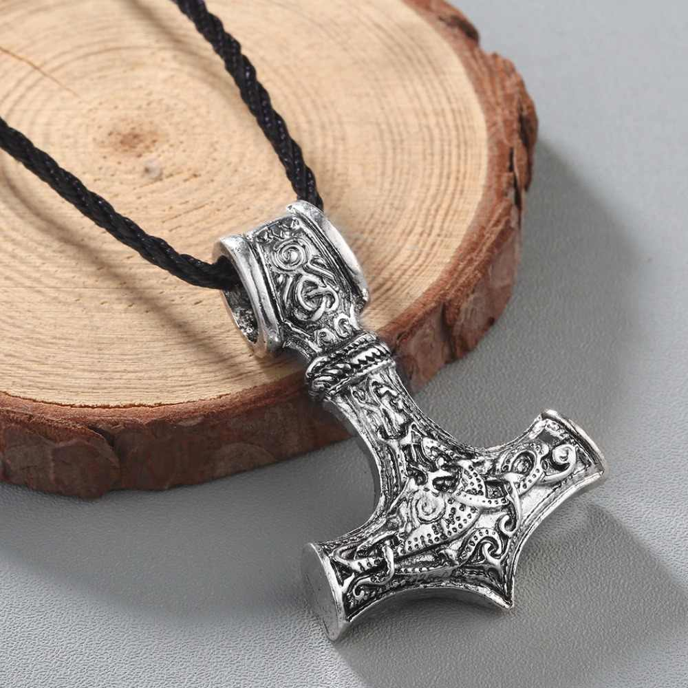 CHENGXUN Men Viking Odin Axe Head Thors Hammer Mjolnir Pendant Necklace Norse Jewelry Punk Style Scandinavian for Boyfriend Gift