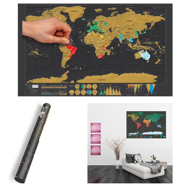 Mini black deluxe travel scrape world map poster traveler vacation mini black deluxe travel scrape world map poster traveler vacation scratch off world map travel vacation gumiabroncs