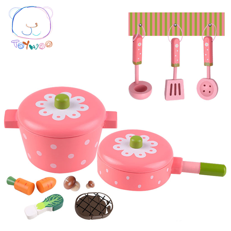 Classic Toys Pretend Play Wooden Toy House Kitchen Cooking Pan Hot Pot Teapot Hobbies Wood Assembly Unisex For 2-6 Years Old