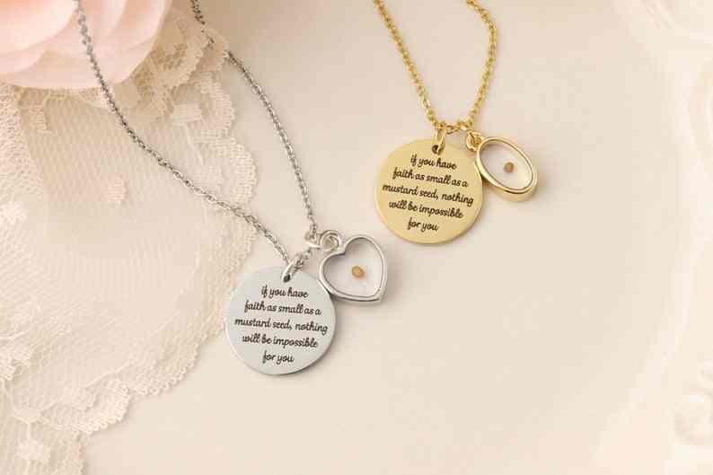 Mustard Seed Necklace,Inspirational Christian Gift,Faith jewelry,Faith as small as a mustard seed,choose color,Real Mustard Seed
