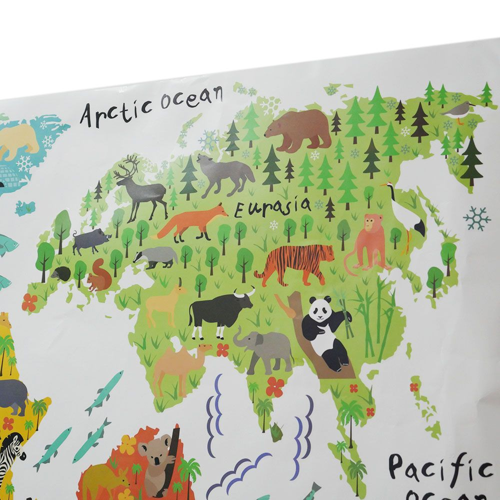 Colorful Cartoon Animal World Map PVC Removable Wall Sticker Decal Mural 95*73CM map of the world removable pvc decal wall sticker home decor