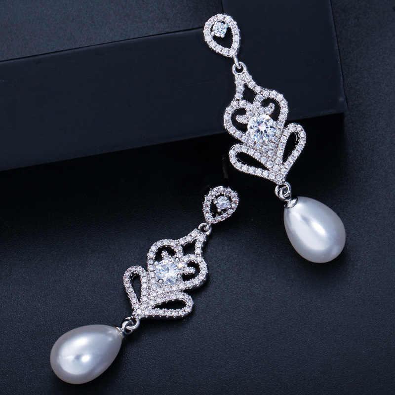 Boucles d'oreilles nuptiales en argent Sterling S925 avec perle d'eau douce naturelle de haute qualité, Micro incrusté de zircon, boucles d'oreilles pendantes en argent S925