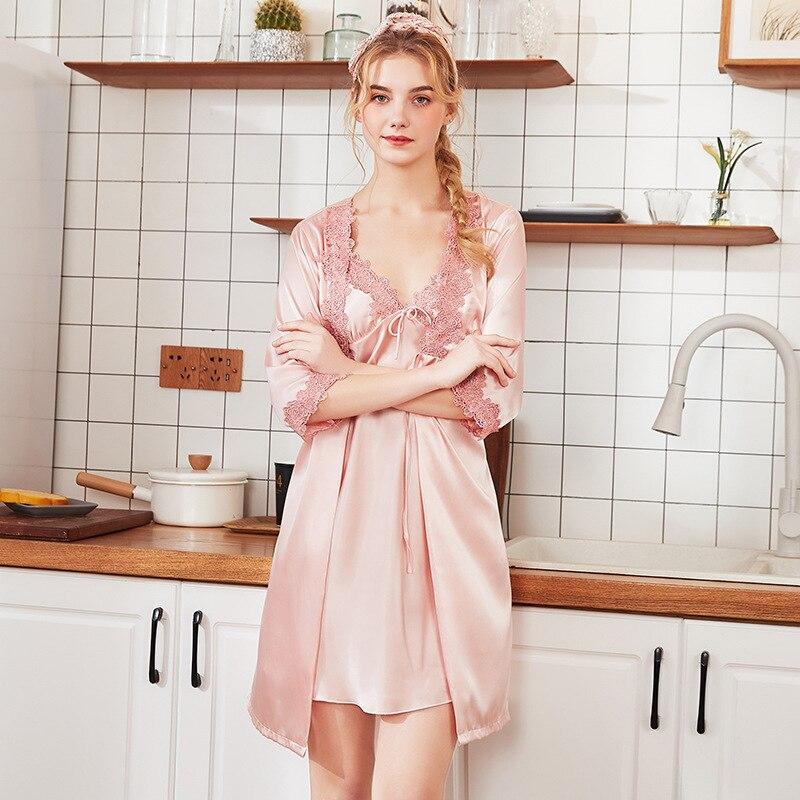 Silky Sleep Pajamas Womens Strap Top Pants Suit Faux Silk Sleepwear Sets Casual Home Wear Nightwear Sexy Robe Bath Gown M L XL