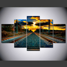 5 panel modern hd Railway Art print canvas art wall framed paintings for living room picture