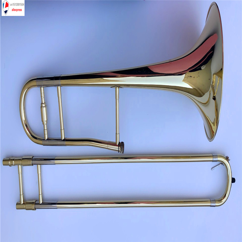 High grade Tenor Bb Trombone great metal technique sound lacquer case and mouthpiece Great Response Intonation bb f tenor trombone lacquer brass body with plastic case and mouthpiece musical instruments