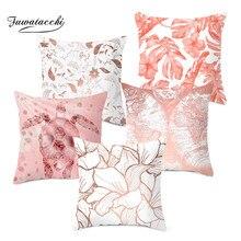 Fuwatacchi Rose Gold Cushion Cover Geometric Decorative Throw Pillows for Home Sofa Pillow Pillowcases 45*45cm