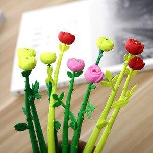 Image 5 - 100 PCS Rosa Stile Penna Regali Creativi per Gli Studenti di Apprendimento di Cancelleria Rosa Fiori Nero Neutro Penna Ufficio Penna allingrosso