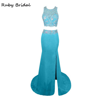 Ruby Bridal 2017 Vestido De Festa Evening Dresses Blue Chiffon Appliques Beaded Luxury Mermaid Two Pieces Party Prom Gown KE61