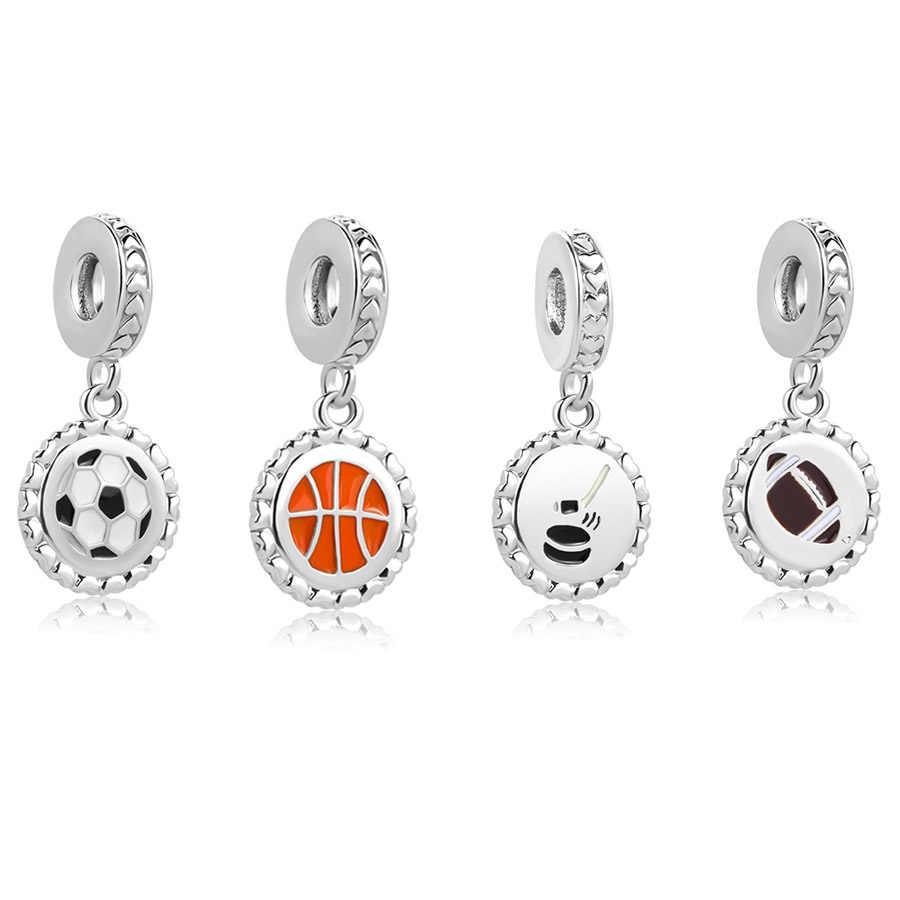 2018 nuevo envío gratis 1pc amor Deportes Fútbol baloncesto golf ajustes de cuentas colgantes pulsera Europea pandora encanto