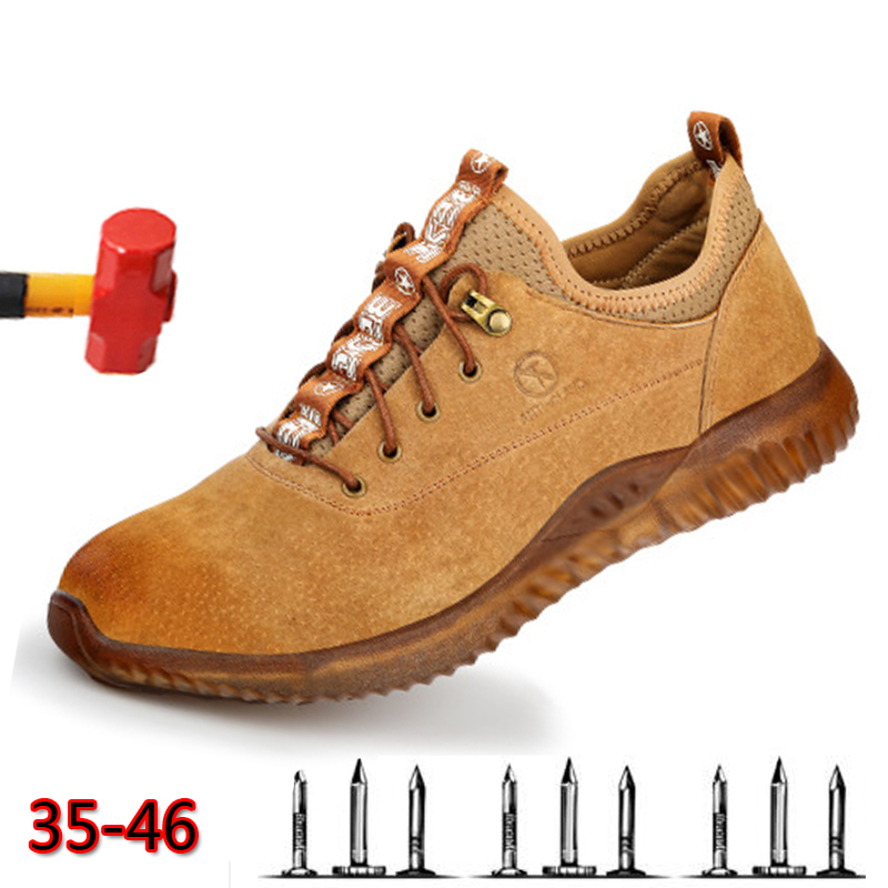 100% Cow Suede Safety Shoes Men Fashion Breathable Working Shoes Steel Toe Protective Construction Large Size 36-46