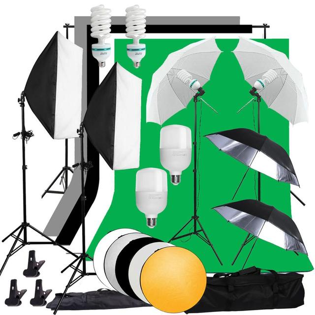 Zuochen Fotostudio Led Licht Softbox Verlichting Kit 4 Achtergronden Voor Fotografie Schieten Facebook Live