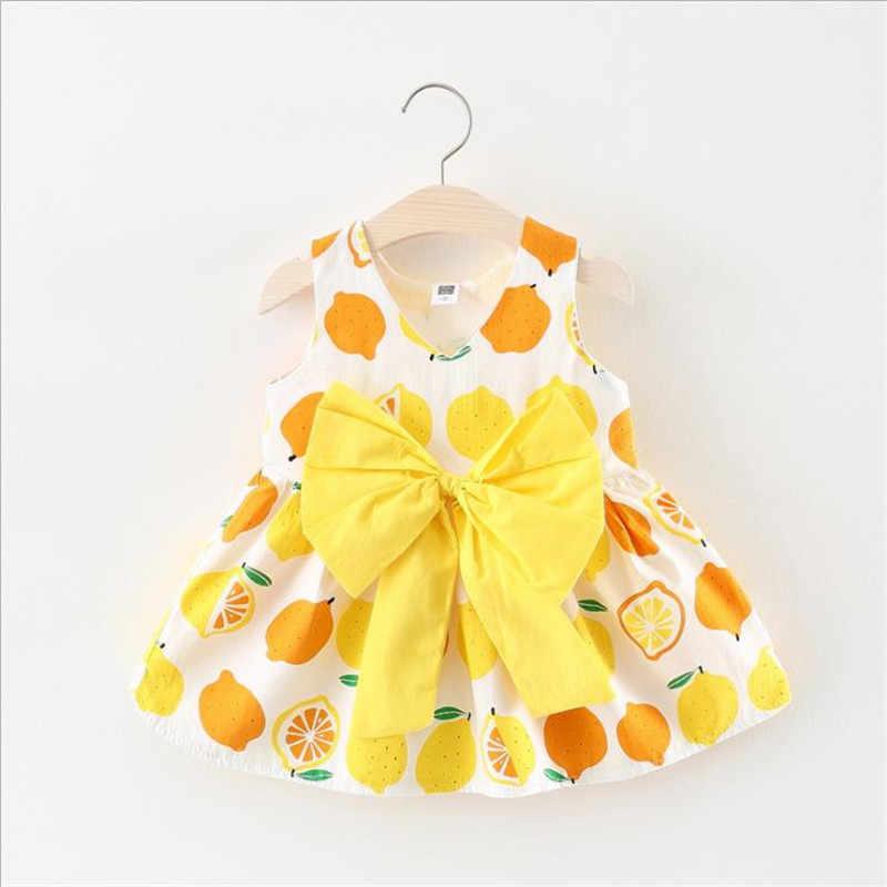 92260371191086b Модные Летнее платье для девочек с принтом фруктов без рукавов Детское  платье Детские платья для девочек