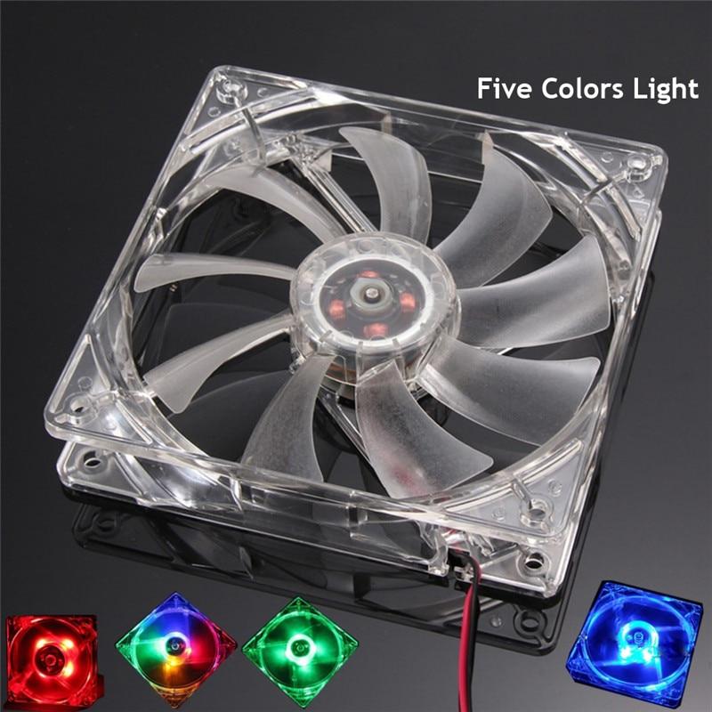 Five Colors Light PC Computer Fan Quad 4 LED Light 120mm PC Computer Case Cooling Fan Mod Quiet Molex Connector CPU Cooler Fan
