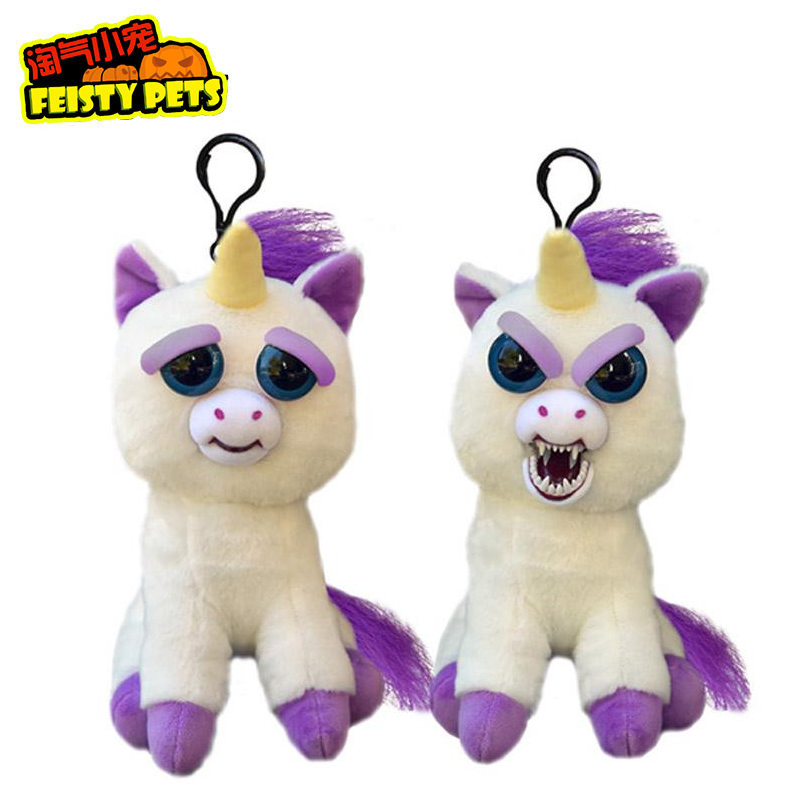Original Feisty Pets Change Face Stuffed Plush Toys Keychain Animal Unicorn Bear Dog Interactive Doll New Year Gift Toys For Kid mr hunkle new design 3d skull cap dog animal out door activities bicycle motorcycle masks hood hat veil balaclava uv full face