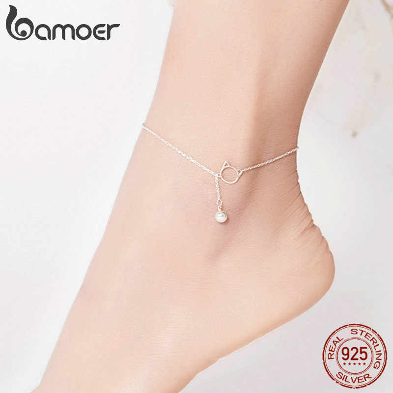 Bamoer เท้าเครื่องประดับ Simple Bell และสร้อยข้อมือสำหรับข้อเท้าเงินแท้ Silver 925 Sterling Silver Anklets สำหรับผู้หญิง SCT003