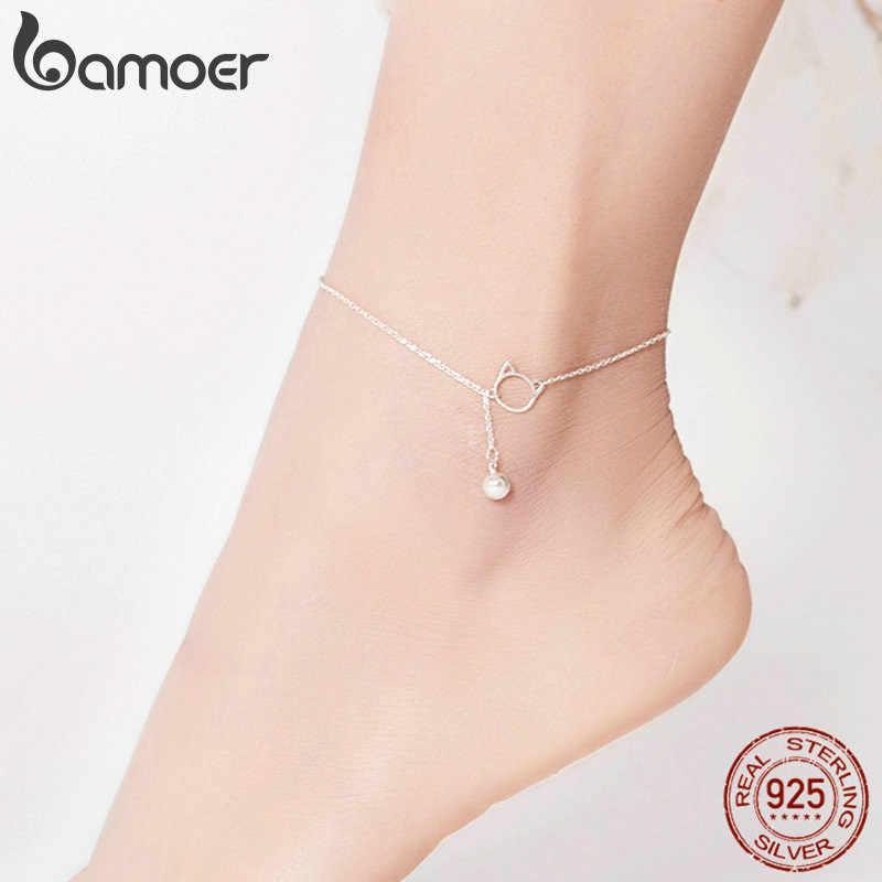 Bamoer, ювелирное изделие для ног, ножной браслет, простой, колокольчик и кот, браслет для лодыжки, настоящее твердое 925 пробы, Серебряные ножные браслеты для женщин SCT003