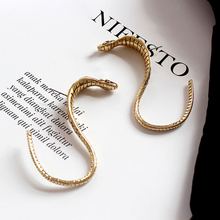 Vintage Boho Snake Stud Earrings Women Party Jewelry Minimalist Bijouterie Personality Exaggerated Gold Color Alloy Animal Ear