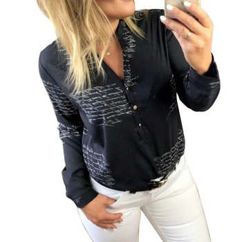 Feminina חולצה חולצה נשים מכתב הדפסת אופנה אישה חולצות 2019 ארוך שרוול נשים חולצות וחולצות אביב 2019 גבירותיי חולצות