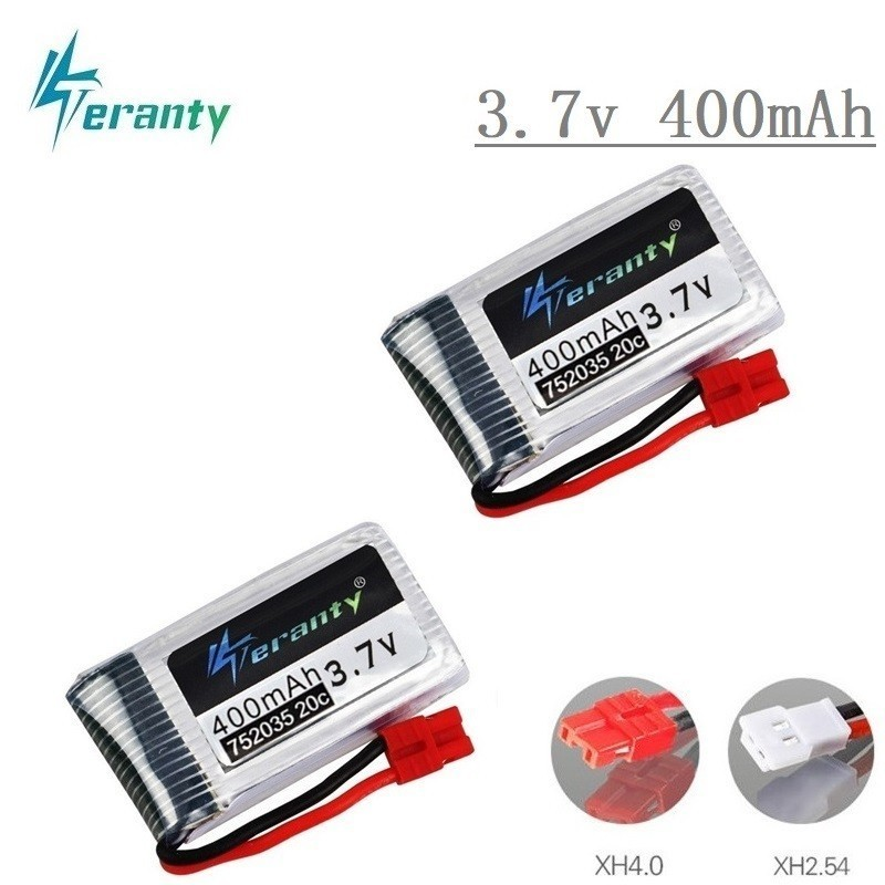 3.7V 400mah Lipo Battery For SYMA X15 X5A-1 X15C X15W H31 X4 H107 KY101 E33C E33 U816A V252 H6C RC Quadcopter Spare Parts 2pcs