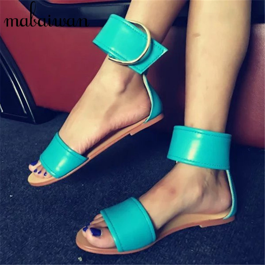 New Style Women Summer Sandals Buckle Design Gladiator Flat Shoes Woman Casual Beach Sandal Flats Sandalias Mujer phyanic 2017 summer gladiator sandals straw platform creepers silver shoes woman buckle casual women flats shoes phy4046