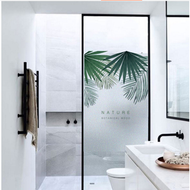 Nordic ins plant electrostatic frosted glass sticker foil bathroom window stickers transparent opaque film in Wall Stickers from Home Garden
