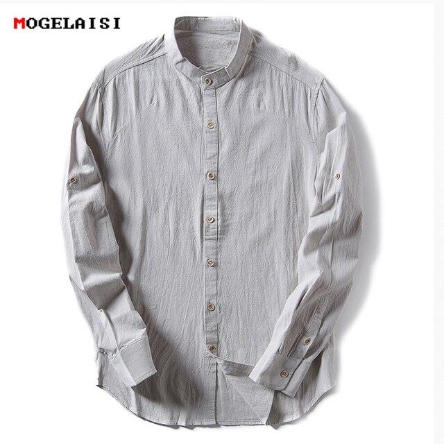 071221bf3c Gentleman Pościel Bawełniana Mężczyźni Koszule Stałe Stoisko Kołnierz Lnu  XXL Shirt Dla Mężczyzn Odzież Szczupły Mężczyzna