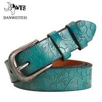 DWTS 2016 New Women Belt Thin Genuine Leather Belt Woman 5 Colour Floral Carved Belts