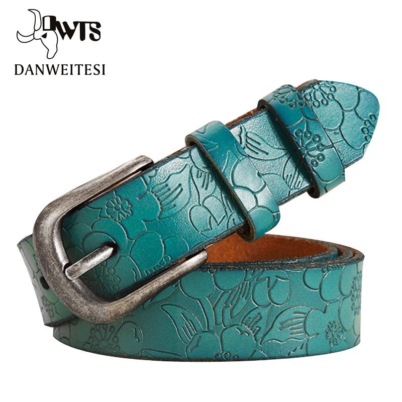 [DWTS]2018 jeans Women Belt Thin Genuine Leather Belt womens 6 Colour Floral carved Belts For Women Ceinture Femme