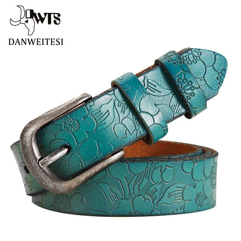 [Dwts] correias femininas finas de couro genuíno cinto das mulheres 6 cor floral cinzelado cintos para mulheres ceinture femme cinto feminino