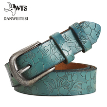 [DWTS]2016 New Women Belt Thin Genuine Leather Belt woman 5 Colour Floral carved Belts For Women Ceinture Femme