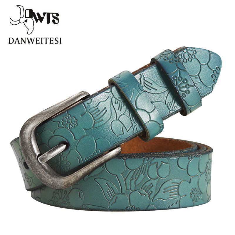 [DWTS] Cinture Donna Sottile Cinghia di Cuoio Genuina delle donne 6 Colore Floreale intagliato Cinture Per Le Donne Ceinture Femme cintura femminile
