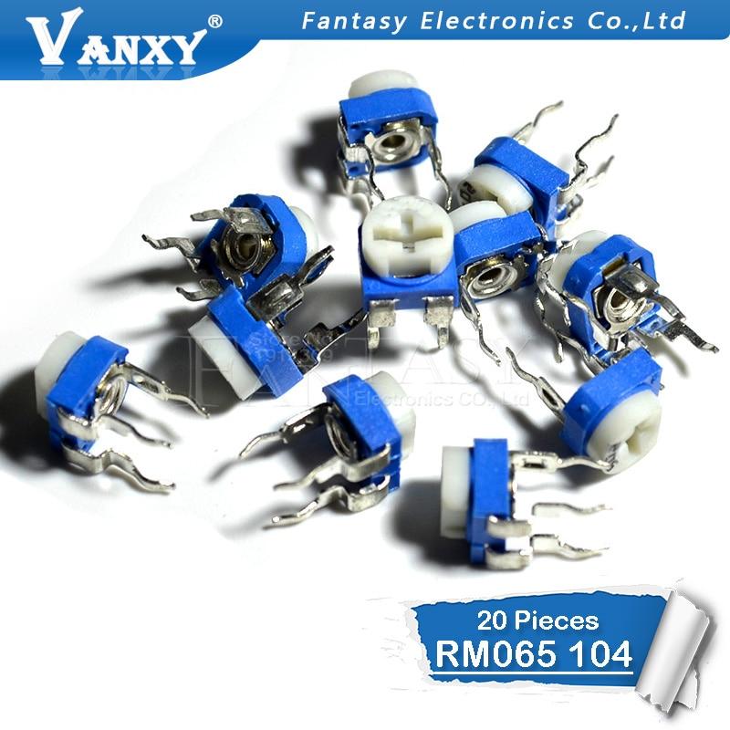 20PCS RM065 RM-065 100K Ohm 104 RM065-104 Trimpot Trimmer Potentiometer Variable Resistor